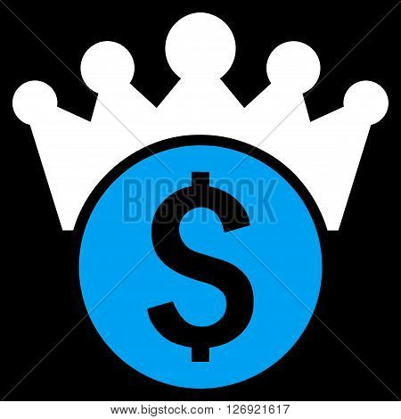 Financial Power vector icon. Style is bicolor flat symbol, blue and white colors, black background.