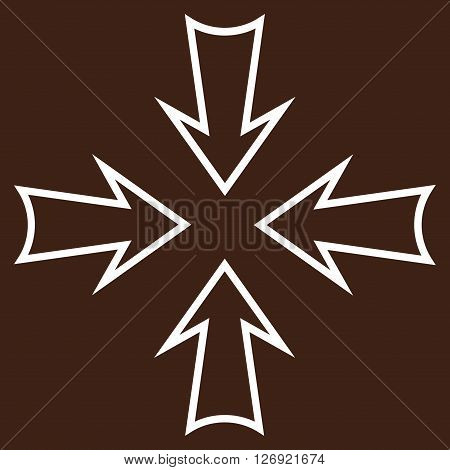 Minimize Arrows vector icon. Style is contour icon symbol, white color, brown background.