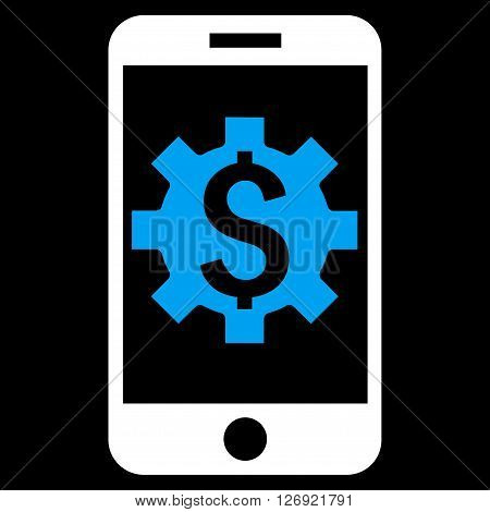 Mobile Bank Setup vector icon. Style is bicolor flat symbol, blue and white colors, black background.