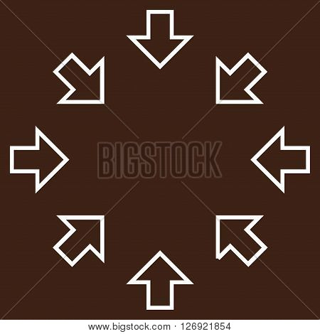 Pressure Arrows vector icon. Style is outline icon symbol, white color, brown background.