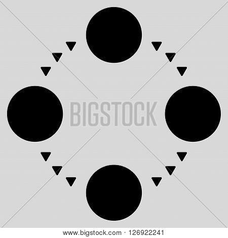 Circular Relations vector icon. Circular Relations icon symbol. Circular Relations icon image. Circular Relations icon picture. Circular Relations pictogram. Flat black circular relations icon.