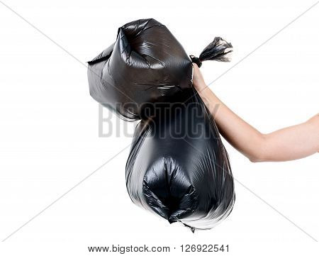 Strong Man Carry Garbage In Bag For Eliminate