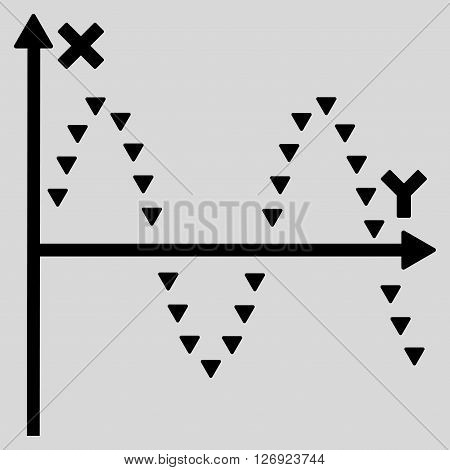 Dotted Sine Plot vector icon. Dotted Sine Plot icon symbol. Dotted Sine Plot icon image. Dotted Sine Plot icon picture. Dotted Sine Plot pictogram. Flat black dotted sine plot icon.