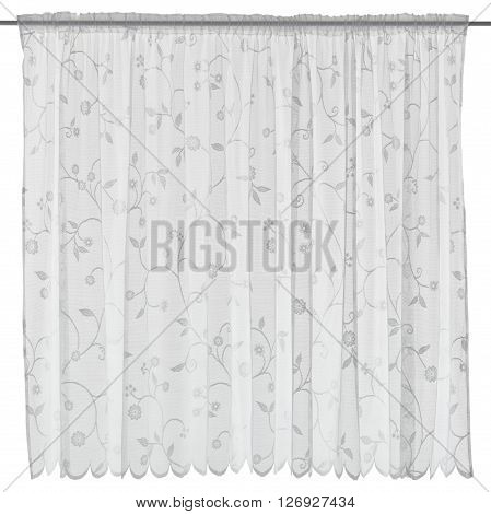Classic translucent white organza curtain with floral pattern. Isolated on white background. Include path.