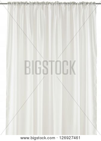 Classic translucent white organza curtain. Isolated on white background. Include path.