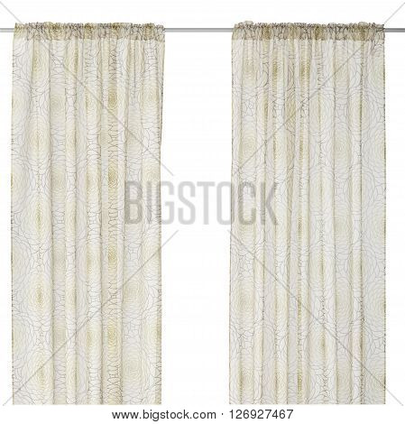 Classic translucent white pastel curtain with floral pattern. Isolated on white background. Include path.