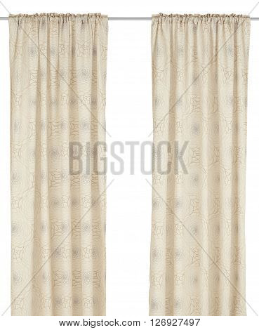 Classic translucent pastel curtain with floral pattern. Isolated on white background. Include path.
