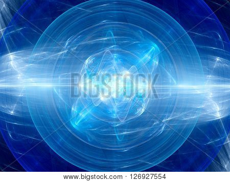 Blue glowing fusion in space plasma force field computer generated abstract background