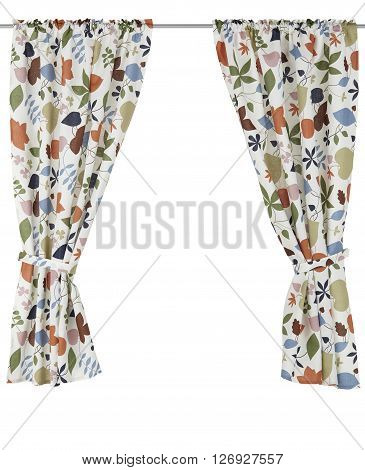 Classic translucent curtain with floral pattern. Isolated on white background. Include path.