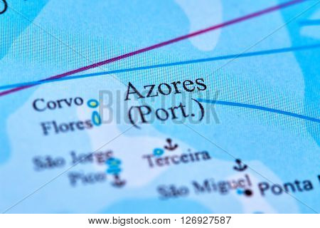 Azores Islands Marked on the World Map