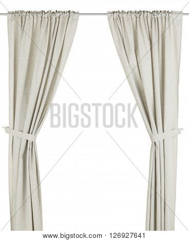 Classic grey translucent flax curtain. Isolated on white background. Include path.