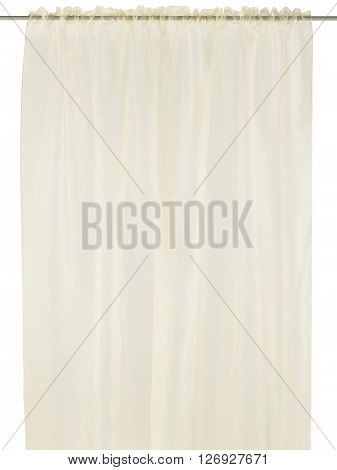 Classic translucent pastel curtain. Isolated on white background. Include path.