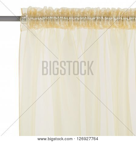 Fragment of the brown translucent organza curtain with mount. Back view. Isolated on white background. Include path.