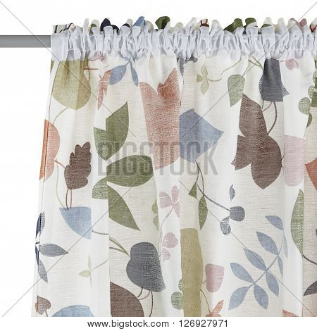 Fragment of the translucent curtain with mount. Floral pattern. Back view. Isolated on white background. Include path.
