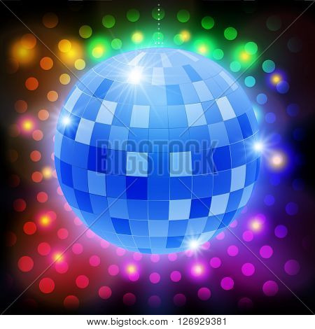 Mirror disco ball on shining retro background. Vector illustration