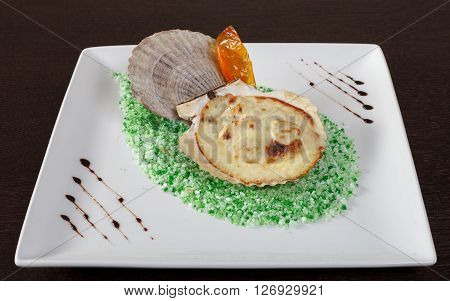 Baked scallops on coarse salt. Decorating dish of European and Asian cuisine. White square plate on a brown wooden table. Close up side view.