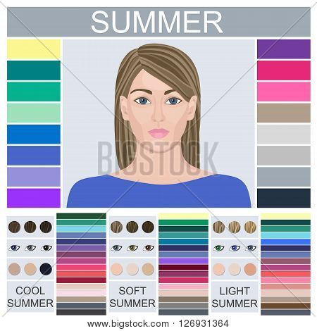 Stock vector set of three summer types of female appearance. Face of young woman. Seasonal color analysis palette for soft, cool and light summer
