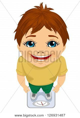 top view of cute boy weighing himself on a scale on white background