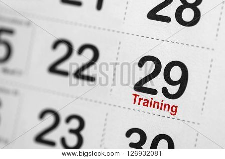 Close up of Training text reminder on calendar