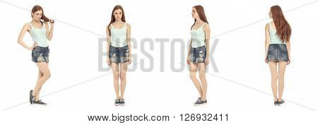 Beautiful teen in skirt isolated on white