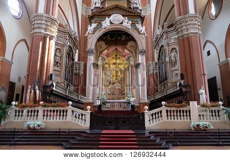 BOLOGNA, ITALY - JUNE 04: Main altar in Basilica di San Petronio, huge and beautiful cathedral in Bologna, Italy, on June 04, 2015