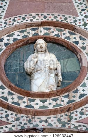 FLORENCE, ITALY - JUNE 05:  Christ Giving a Blessing, Portal of Cattedrale di Santa Maria del Fiore (Cathedral of Saint Mary of the Flower), Florence, Italy on June 05, 2015
