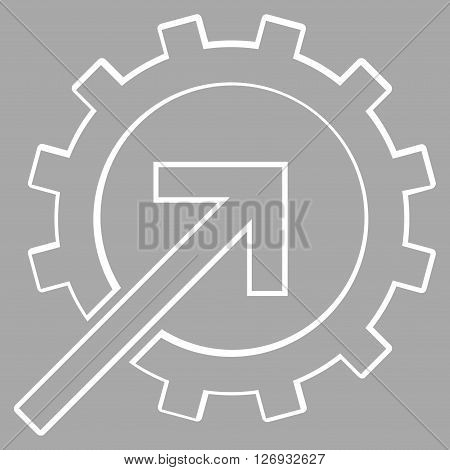 Integration Arrow vector icon. Style is thin line icon symbol, white color, silver background.