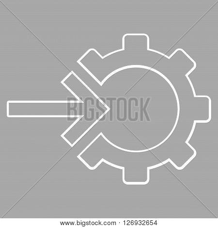 Integration Arrow vector icon. Style is stroke icon symbol, white color, silver background.
