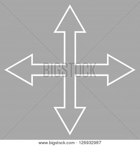 Maximize Arrows vector icon. Style is contour icon symbol, white color, silver background.