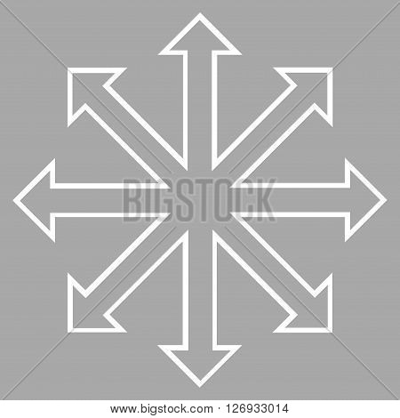 Maximize Arrows vector icon. Style is outline icon symbol, white color, silver background.