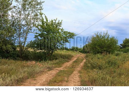 Country road. The landscape of the Russian village on the Volga river