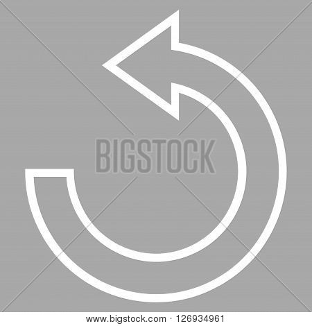 Rotate Ccw vector icon. Style is thin line icon symbol, white color, silver background.