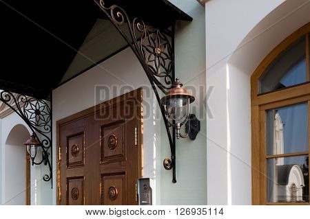 The entrance of the refectory in luxury classic style.