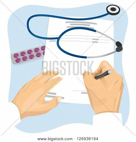 Male doctor filling in an empty medical prescription