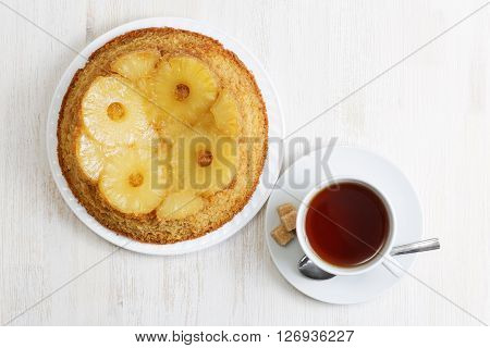 Pineapple Upside Down Cake And Cup Of Tea