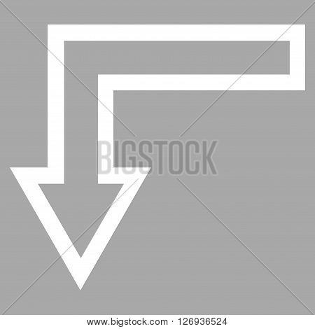Turn Down vector icon. Style is contour icon symbol, white color, silver background.