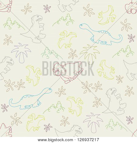 Vector illustration. Seamless ornamental pattern made of footprints of dinosaurs grass trees on a grey background.