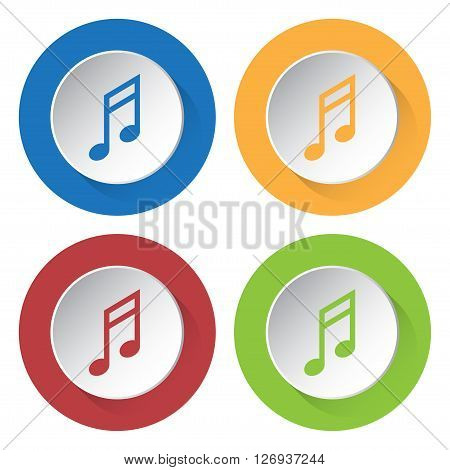 set of four colored icons - musical note