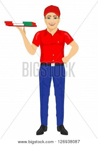 pizza delivery man holding cardboard wrapped in the Italian flag on white background