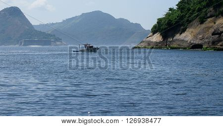 Spectacular panorama of Rio de Janeiro Brazil - lonely boat on foreground