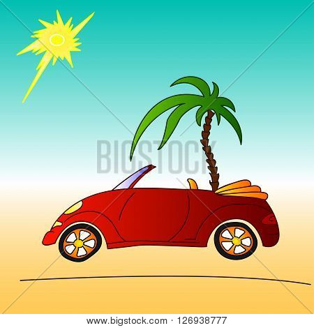 red car and palm tree, summer holidays travel on cabriolet, vector illustration