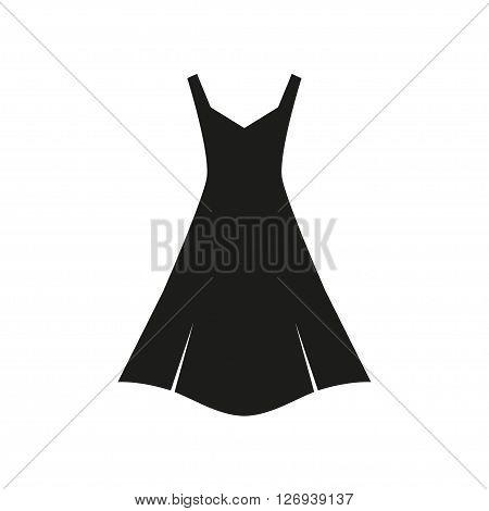 Woman black simple dress . Dress Icon eps10