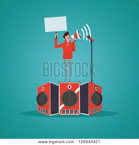 Man on a podium is speaking in a megaphone. Cartoon illustration