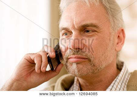 Thoughtful Senior Mature Man Call On Mobile Phone