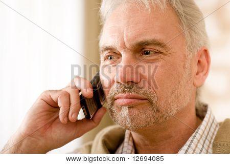 Thoughtful Senior Mature Man Call On Mobile Phone