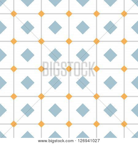 Geometric seamless pattern with rhombs. Gray and orange rhombs on checkered white background. Rhombic wallpaper design. EPS8 vector illustration. Pattern swatch included.