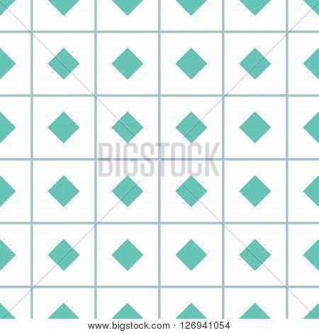 Geometric seamless pattern with rhombs.Turquoise rhombs on checkered white background. Rhombic wallpaper design. EPS8 vector illustration. Pattern swatch included.