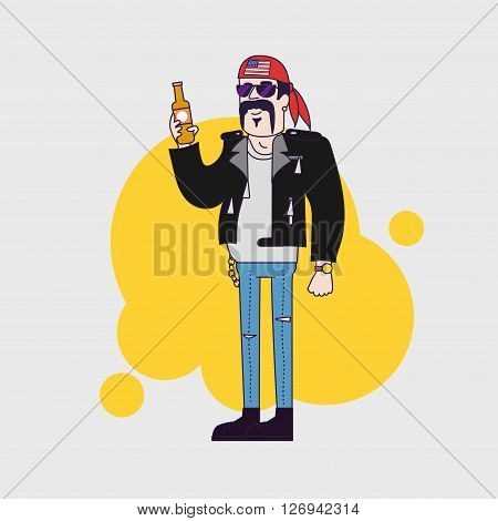 biker character in sun glasses and leather jacket with beer bottle. Linear flat design