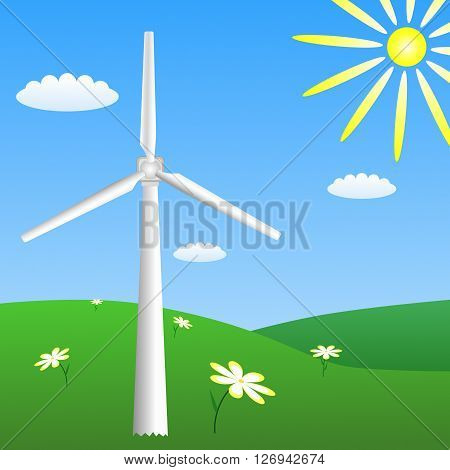 Wind turbine on sunny meadow. Vector EPS 10