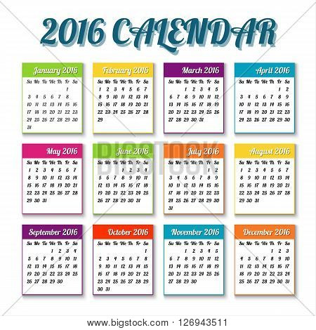 New year 2016 calendar with colored tiles holiday vector illustration